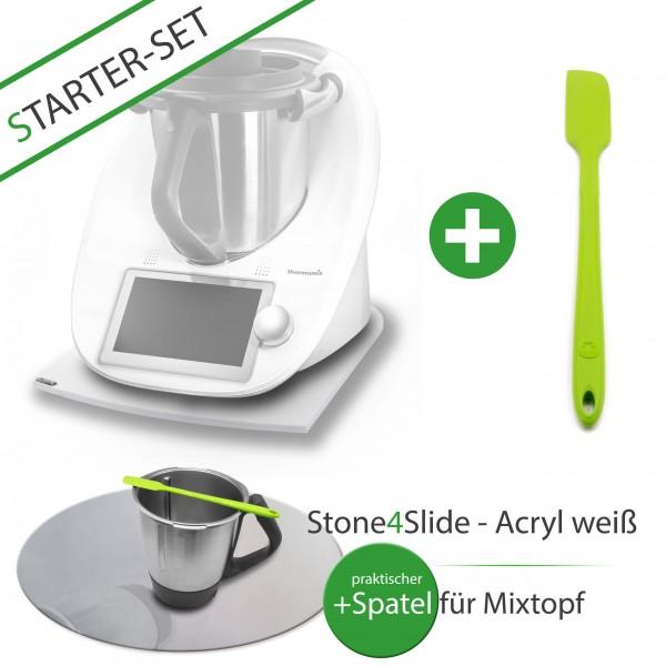 Stone4Slide® Gleitbrett aus Acryl *Weiß* für Tm6/Tm5/Tm31 + Mixtopf - Spatel